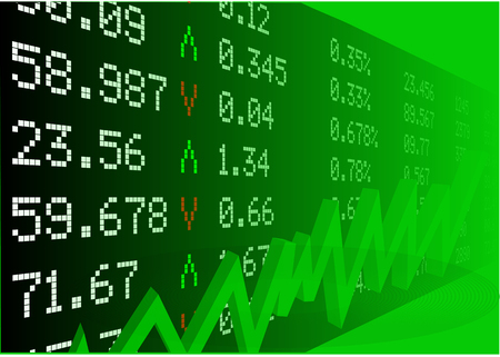 stock market with numbers and green graph