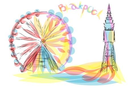 blackpool. abstract silhouette on multicolor background Illustration