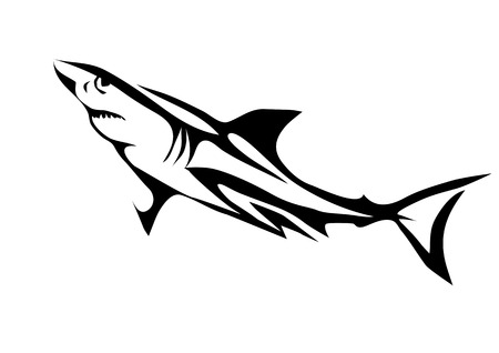 white shark: great white shark. abstract silhouette isolated on white