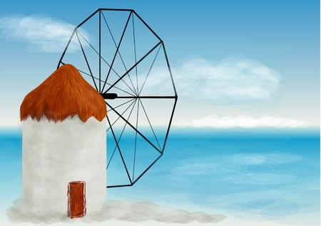 greek islands: mykonos. white greek windmills in popular tourist village