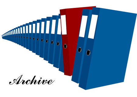 bureaucracy: archive. blue and red folders isolated on white background