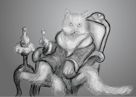 grey cat: vintage cat on grey background. 10 EPS