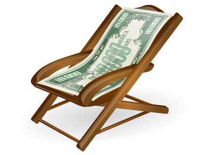 pension concept. wood chair with money isolated on a white background