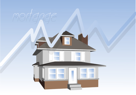mortgage: mortgage consept. house on blue background and graph