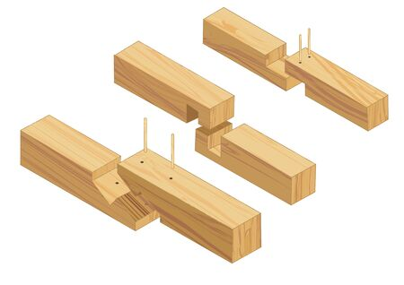joinery: joinery connections 2 isolated on white background