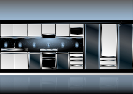 white kitchen in high-tech style interior with light and shadow Иллюстрация
