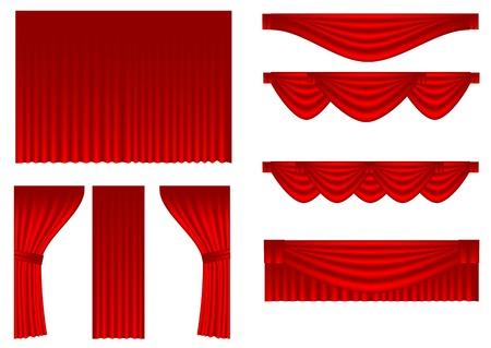 cortinas rojas: conjunto de cortinas aislados en un blanco backgroound