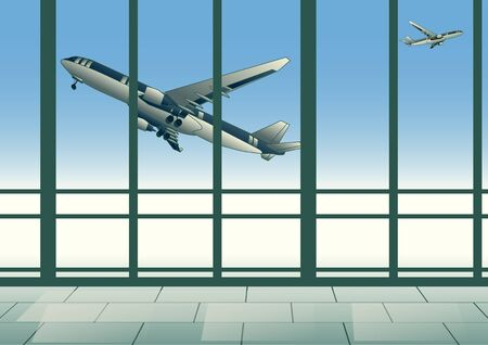 airport. aircraft in sky outside the departure lounge