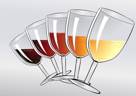 wineglasses: wine tasting party. wineglasses on gray background Illustration