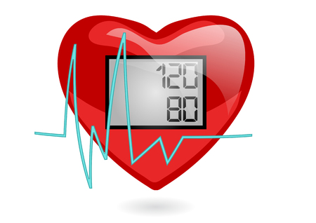 heart monitor: blood pressure. heart isolated on white background