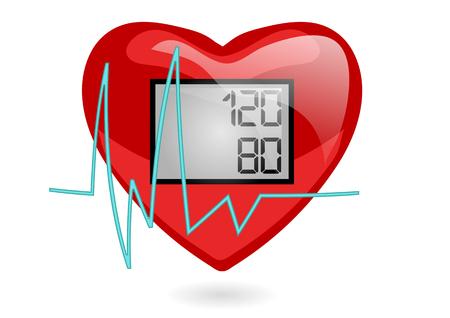 presión sanguínea. corazón aislado sobre fondo blanco Ilustración de vector
