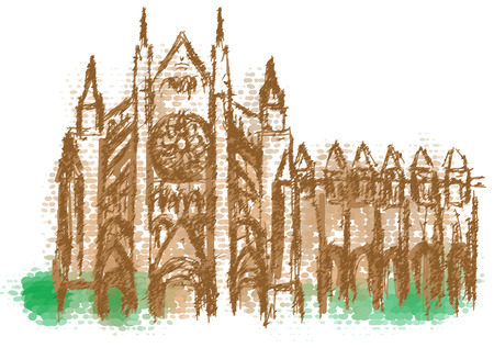 Westminster Abbey abstract sikhouette on multicolor background