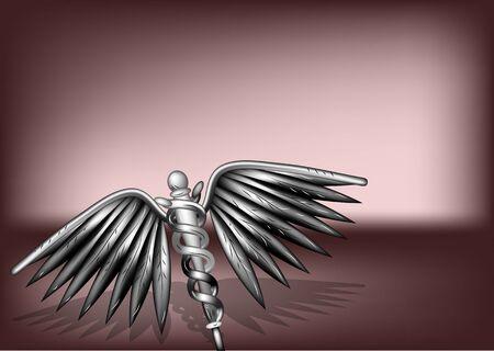 pharmacy snake symbol: healthcare sign on dark background Illustration