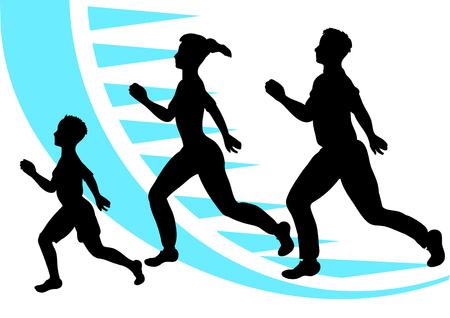 trotar. Deporte de la familia. silueta abstracta de hombre, mujer y niño