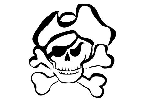 symbol of pirate. pirate skull, hat and bones Illustration