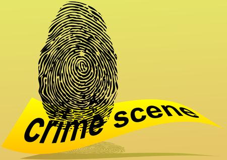 escena del crimen: escena del crimen. huella digital y cinta amarilla prohibida