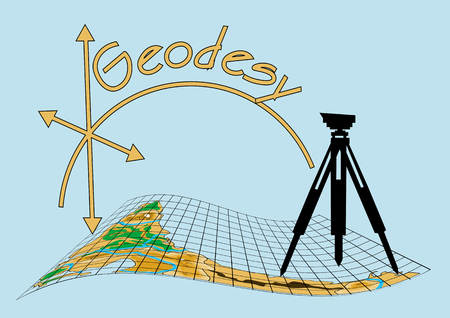 geodesy: geodesy. theodolite on tripod with abstract map Illustration