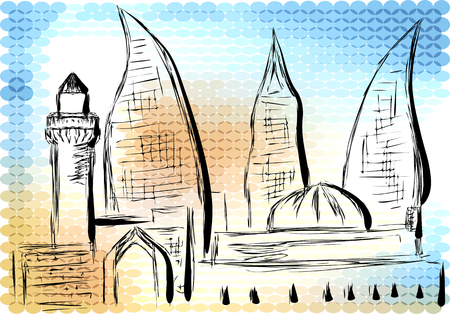 historical: azerbaijan. abstract silhouette on multicolor background Illustration