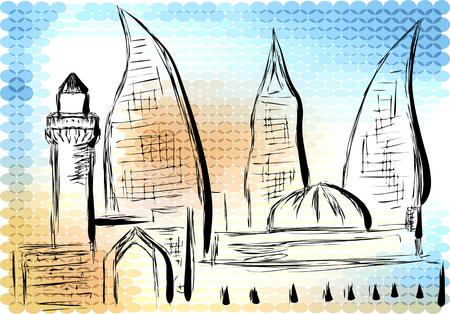 historical landmark: azerbaijan. abstract silhouette on multicolor background Illustration