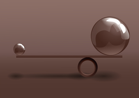 balance. conceptual image of balance between two issues Illustration