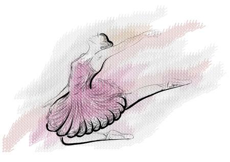 balet. ilustracji wektorowych z baletu klasycznego, rysunek tancerka baletowa