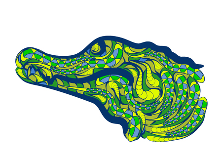 caiman: caiman brazil. abstract ethnic crocodile on white background Illustration