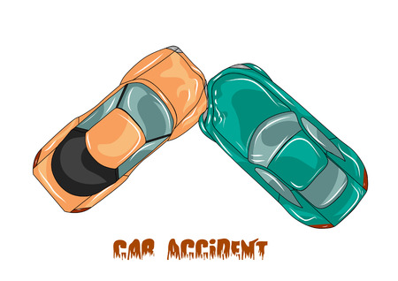 auto accident: car accident. two cars isolated on white Illustration