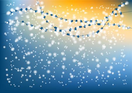 string of christmas lights: christmas lights. garland of bulb ans snow