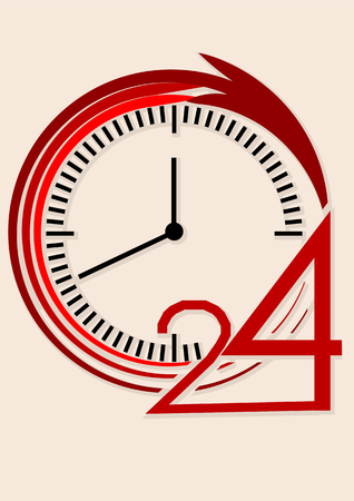 24 hour: clock and 24 hour icon on biedge background