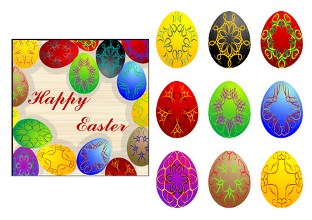 paschal: set of easter eggs isolated on white background