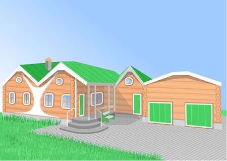 house: orange cartoon house with garage.