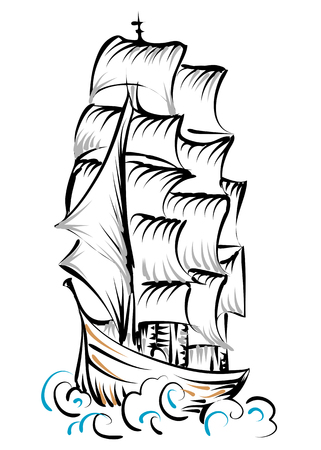 tall ship: tall ship isolated on a white background