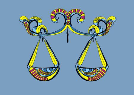 libra zodiac sign. abstract ehtnik vector silhouette Illustration