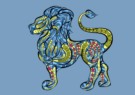 leo: leo zodiac sign. ethnic abstract simbol