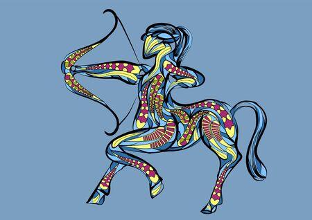 sagittarius zodiac sign. abstract ethnic vector illustration