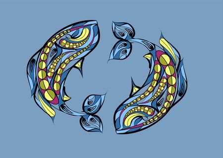 pisces: pisces zodiac sign. abstract ethnic vector illustration