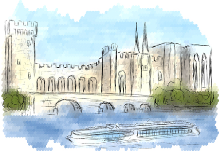 old bridge: avignon. abstract silhouette of city on multicolor background Illustration
