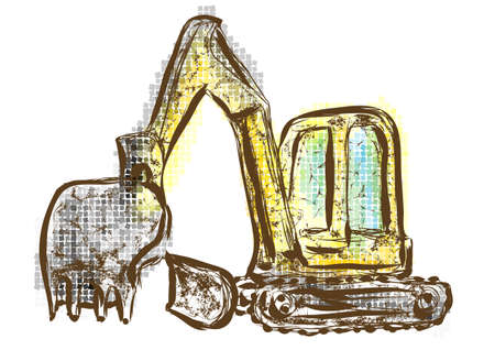 digger: Digger. abstract multicolor machinery on white background Illustration