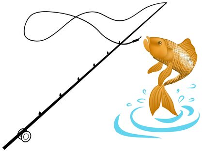 fish animal: Fishing. Isolated illustration of big peach fish in waves with fishing rod.