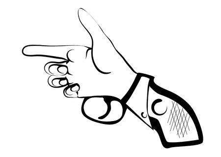 isilated: hand as gun isilated on white background Illustration