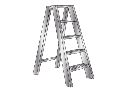 rung: metallic ladder, isolated on a white background Illustration