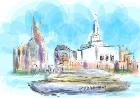 nashville: nashville. abstract silhouette of city on multicolor backgroun