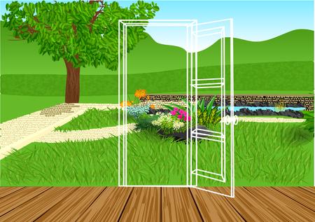 opening door: opening door. silhouette of door and green lawn