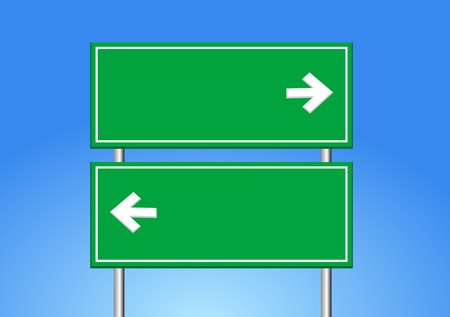 directional sign: road sign and blue sky.
