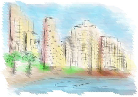 tel: Tel Aviv. abstract city on multicolor background