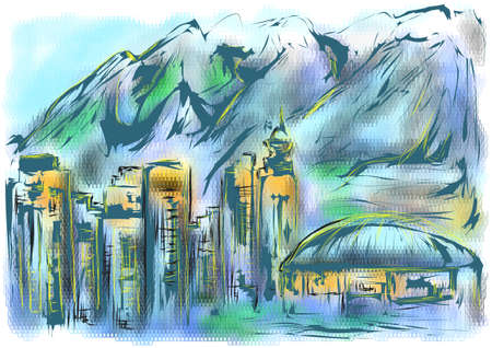 downtown: vancouver downtown skyline on abstract multicolor background Illustration