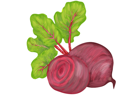 beetroot: beetroot with leaves isolated on white background