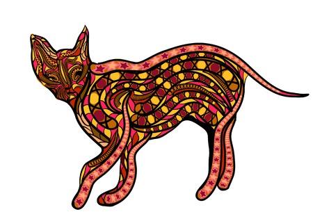 ceylon: ethnic ceylon cat. abstract silhouette isolated on white background Illustration