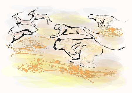 cheetah chase. abstract animals hunting.