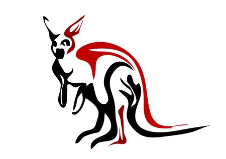 red kangaroo: red kangaroo. abstract silhouette isolated on white background